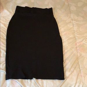 Black stretchy fitted Pencil Bebe skirt